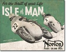 "16"" X 12 1/2"" TIN SIGN NORTON GRAND PRIX ISLE OF MAN METAL SIGN NEW"