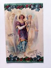 1909 Religious With All Christmas Blessings Postcard w/ Angel Playing Harp