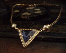 Deco Vintage Cristal Claro Y Azul Cuarzo Triángulo Gota Collar Chapado En Oro