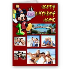 Personalised Mickey Mouse Collage Photos, Name & Age A5 Happy Birthday Card