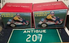 2 VTG SCHYLLING Motorcycle & Sidecar w/ Riders METAL TIN WIND-UP TOY NOS MIB Lot