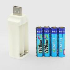 4pcs Kentli 1.5V 1100mWh Lithium Rechargeable AAA LiPo Batteries + USB charger