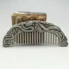 Chinese ancient Tibet silver hand-carved longfeng comb - Dragon Phoenix