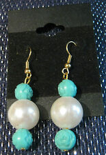 Pretty droplet style earrings with large pearl style bead and rose beads