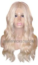 Remy Human Hair Wig Glueless Front Lace 24 Very Long Wavy Light Blonde 60 Moklox