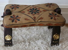 Vintage foldable Leather & Wood Egyptian Camel Saddle Seat, Foot Stool moroccan