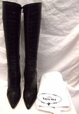 PRADA CROC PRINT LEATHER KNEE HIGH BOOTS Sz 38 - 7.5/8 *SLEEPER BAG*