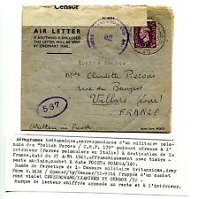 """Corpo Polacco - Air Letter inglese spedita da militare """"Polish Forces 179"""""""