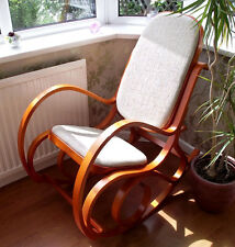 NEW PADDED HONEY BENTWOOD BIRCH ROCKING CHAIR THONET LIVING ROOM CONSERVATORY