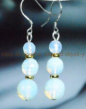 BEAUTIFUL! WHITE FACETED MOONSTONE BEADS DANGLE DROP EARRING SILVER HOOK AAA