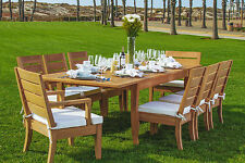 "Atnas 9pc Dining 118"" Rectangle Table Chair Set A-Grade Teak OutdoorNEw"