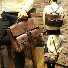 New Men's Faux Leather Attache Briefcase Messenger Shoulder Handbag Bag Backpack