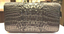 GENUINE CROCODILE WALLETS SKIN LEATHER BONE TWO ZIPPER WOMEN'S CLUTCH BLACK BAGS