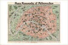 1932 ROBELIN MAP OF PARIS w/monuments poster METROPOLITAN collectors 24X36