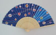 Japanese Ladies Paper & Bamboo Folding Fan Hand Held Fan Blue,Balls and Lines
