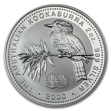 2000 2 oz Silver Kookaburra BU (Long Cross Penny Privy) - SKU #69748