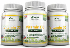 Vitamin D3 10000iu 3 Bottles x 365 Soft Gel capsules High Strength