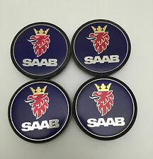 USED SET OF 4 ALLOY WHEEL CENTRE CAP BADGES, GENUINE SAAB 900 9000 9-3 9-5