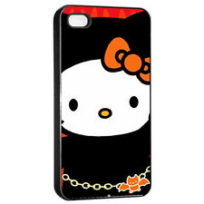 Hello Kitty Apple iPhone 4/4s Seamless Case Cover Black for Gifts HOT NEW