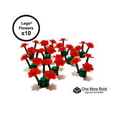 Red LEGO Flowers x30 and stems x10 (10 Lego Flowers)