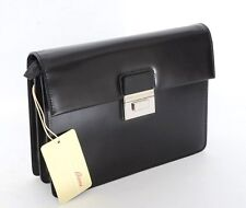 BRIONI Black Leather Clutch Briefcase Attache Bag Wallet Folio Tablet Case NWT