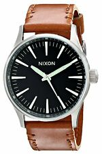 New Nixon Sentry Black Dial Brown Leather Strap Mens Watch A3771037