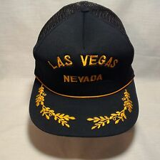 Vtg Snapback Baseball Hat Cap LAS VEGAS Black Gold Mesh Hipster Trucker Painter