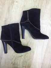"M & S AUTOGRAPH BLACK ANKLE BOOTS SIZE 7.5 4.5"" HIGH HEELS SUEDE LEATHER RRP £75"
