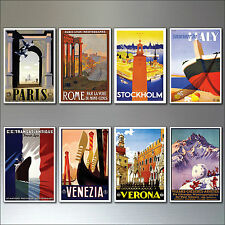 8 Vintage Travel Posters Fridge Magnets from Art Deco Period Retro repro No.4