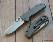 CRKT DRIFTER LARGE STAINLESS STEEL HANDLE FOLDING KNIFE WITH POCKET CLIP
