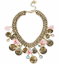 BETSEY JOHNSON 'Cameo Critters' Cat Dog Coin Tassel Frontal Necklace $125