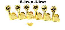 6pc. set Gold Skull Sealed-Gear Guitar Tuners/Machine Heads (6 Right) 31-03-04