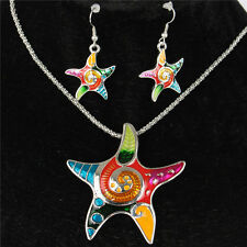 Silver Starfish Five Star Fish Necklace Earrrings Chain Jewelry Sets Party Gift