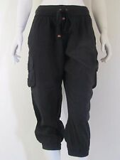 LONDON JEAN Black Capri Cotton harem Casual Solid Pants Sz S