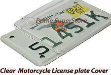 NEW MOTORCYCLE BUBBLE CLEAR LICENSE PLATE COVER BUG SHIELD PLASTIC TAG PROTECTOR