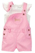 JUICY COUTURE BABY GIRL LACE SHORTALL & DOTS FOIL PRINT TOP SET. SZ 3-6M