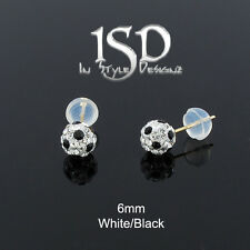 14k Gold Women's 6mm Swarovski Elements White Black Crystal Ball Studs Earrings
