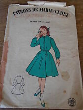 "ANCIEN PATRON""MARIE CLAIRE  ""ROBE A PLIS COUCHES  1950 TAILLE 10 A 12 ANS"