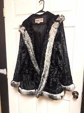 Midnight Velvet Faux Fur Coat Cape Poncho Sz 1X