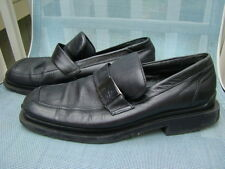 KENNETH COLE ITALIAN LEATHER BLACK SILVER LOGO BUCKLE ACCENT LOAFERS MEN SIZE 9