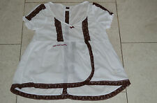 Odd Molly Womens S/S Blouse Tunic Shirt Top White / Brown Shirt Size 2 UK 12 14