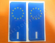 2x3D Sticker Resin Domed Euro ITALY Number Plate Car Badge Adhesive Vinyl Decal