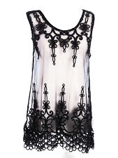 UK S/M Fit Black Dark Romance Gold Thread Butterfly Embroider Sheer Dress