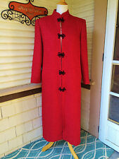 BEAUTIFUL VINTAGE RED WOOL CHENILLE HONG KONG PRINCETON TAILOR WINTER COAT S/M