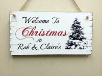 Large personalised Christmas sign gift shabby vintage chic Christmas tree plaque