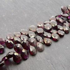 Garnet Faceted Pear Briolette Beads- Set of 5 - Semi Precious Gemstone