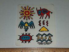 VTG 80'S POWELL PERALTA STEVE SAIZ NATIVE AMERICAN ART NOS SKATEBOARD STICKER !!