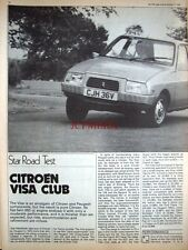 1979 CITROEN 'Visa Club' Car Auto Report Clipping (6-Sided Cutting)
