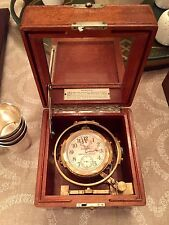Hamilton Model 22 Deck Chronometer WWII Watch Click In Wood Case