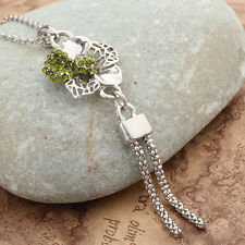 Fashion Green Crystal Flower Tassels Pendant Necklace For Women Fashion Jewelry
